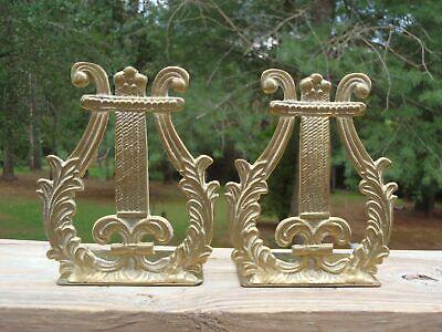 "Vintage Ornate SET of 2 GATCO Solid Brass Lyre Harp 6"" BOOKENDS DOORSTOPS Korea"