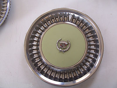 1976 1977 1978 CADILLAC BROUGHAM WHEEL COVER HUB CAP SET OF 4 DEVILLE  USED OEM