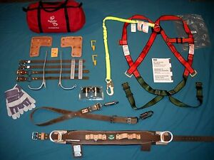 NEW Buckingham Tree Pole Lineman Climbing Gear Spikes Belt Harness Safety Gaffs!