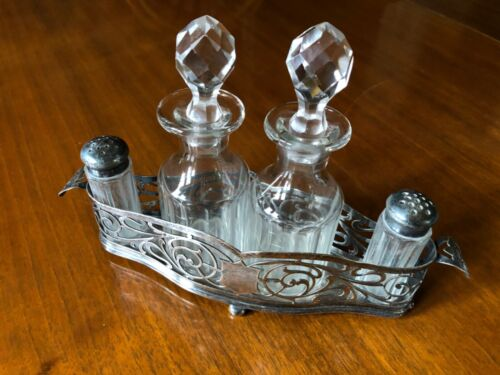 Antique Cruet Silver & Crystal Set by Rookford