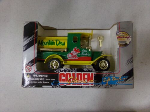 Vintage 1996 Mountain Dew Golden Classic Gift Bank Die-Cast Metal NEW in Box