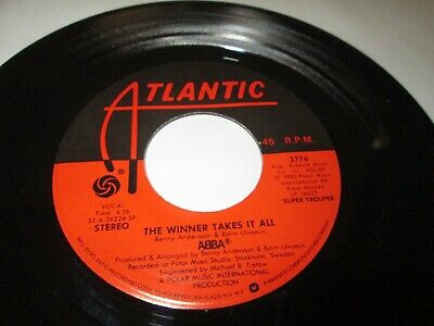 "ABBA THE WINNER TAKES IT ALL 45 7"" NM NEAR MINT ATLANTIC ORIGINAL VINYL LISTEN"