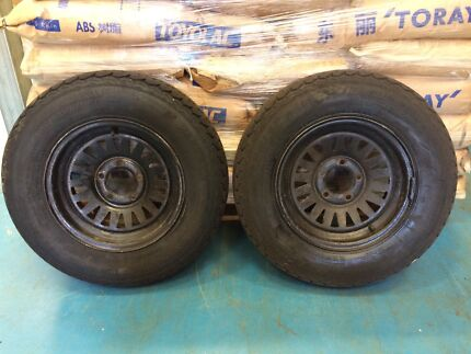 2x black alloy trailer rims and tyres 175/R13 with 90% tread Warriewood Pittwater Area Preview