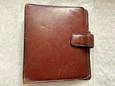 Vintage Franklin Real Brown Leather 7 Ring Binder Planner Cover Usa Made B2v