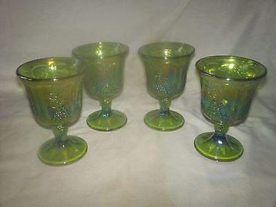 SET OF 4 VINTAGE INDIANA GLASS CARNIVAL GREEN IRIDESCENT HARVEST GRAPE GOBLETS