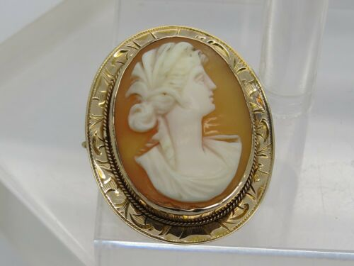 DAMAGE 10k Yellow Gold Oval Etched Lady Cameo Bust Carved Vintage Pin Brooch