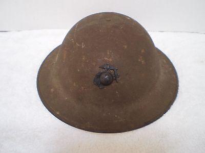 Original U.S. WW1 Helmet M1917 ZA195 with original WW1 USMC badge