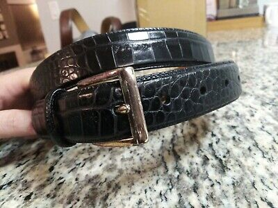 Polo Ralph Lauren Black Alligator Crocodile Silver Buckle Italian Leather 38
