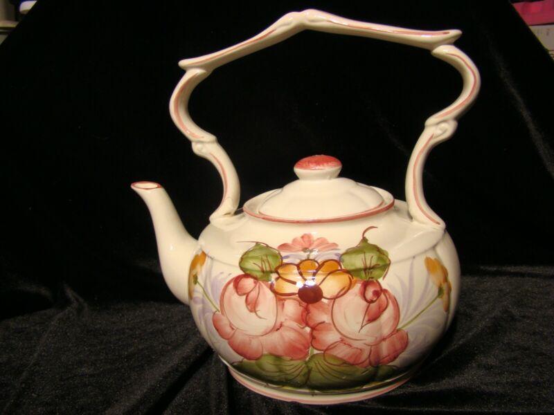 Vtg Jay Willfred Div Of Andrea by Sadek Teapot #137 Flowers Ceramic Portugal