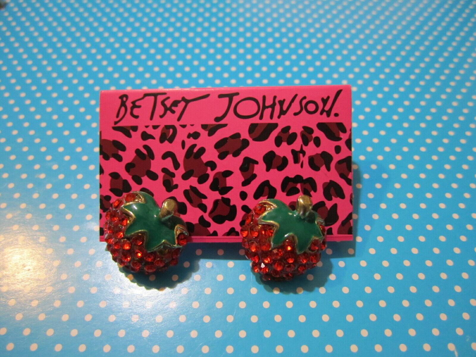 Crystal Strawberry Earrings~Betsey Johnson~Gold Stud~High Qu