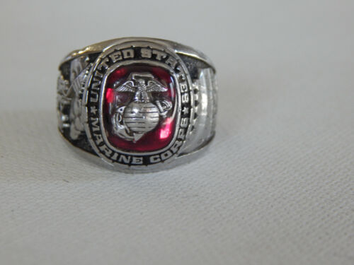Balfour Silver Tone Red Stone USMC United State Marines Corps Ring Sz 10