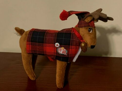 Elf On the Shelf Elf Pets Reindeer Costume Outfit Plaid Suit and Hat EUC