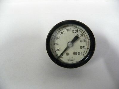 Vtg Industrial Machine Age Steampunk Marsh 0-2000 Pressure Gauge A5