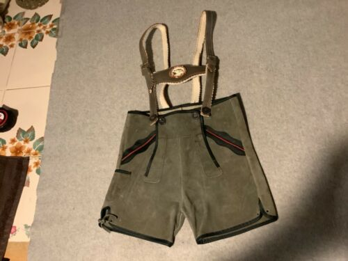 BOYS YOUTH RARE VINTAGE AUTHENTIC GERMAN OKTOBERFEST LEATHER LEDERHOSEN SHORTS