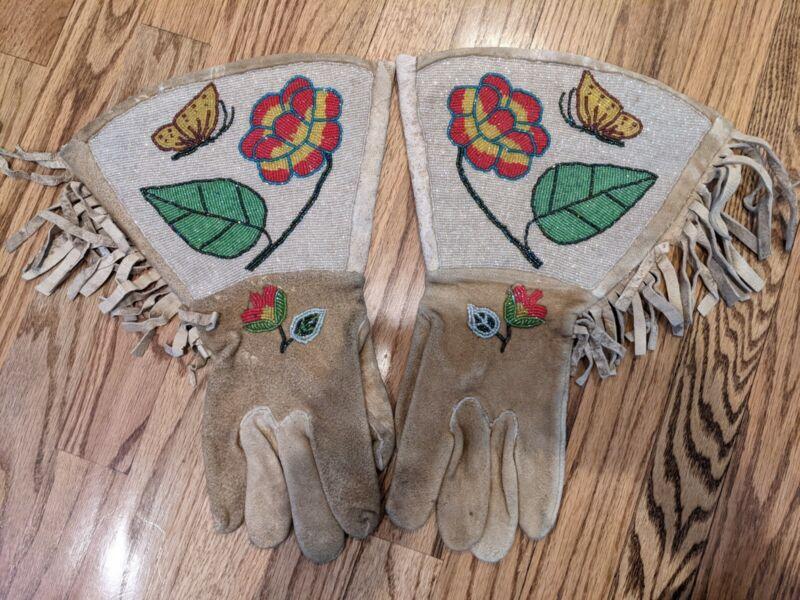 Native American Plateau Beaded Gauntlet Gloves circa 1920