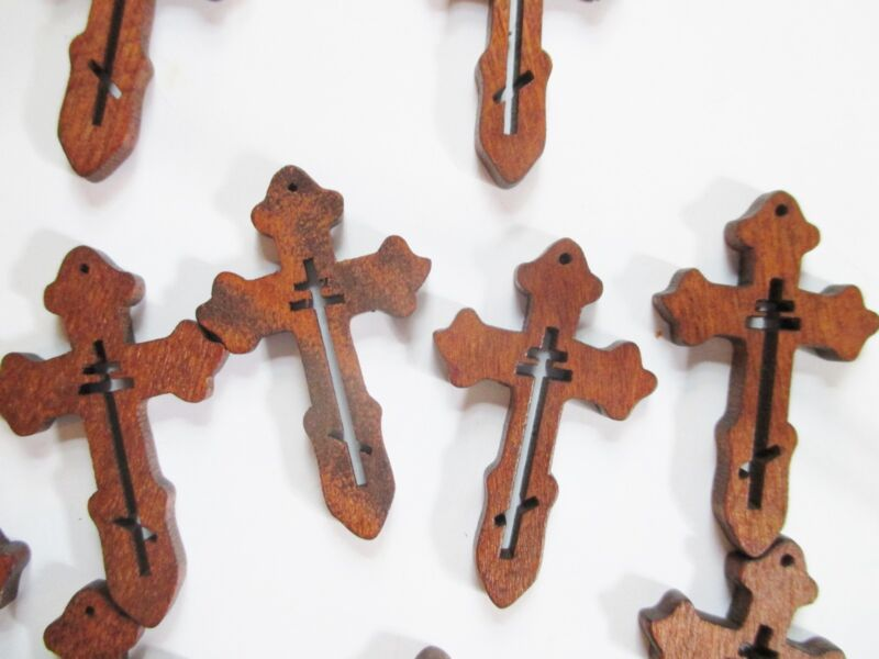 Wholesale Lot of 25 Small Wood Crosses, Very Detailed