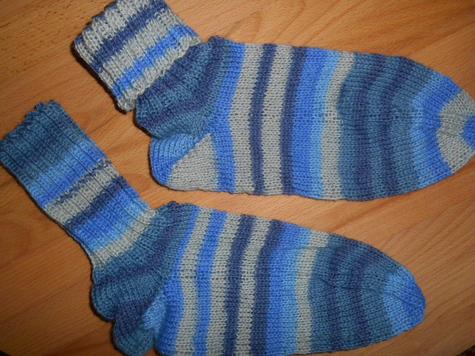 Socken Stricksocken Wolle Strümpfe Hellblauton/Grau Streifen Gr.37/38 max.39 Neu