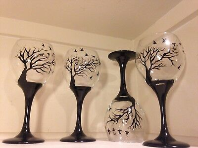 Black Wine Glasses (Art wine Glasses black Tree And Birds set Of 4 dishwasher)