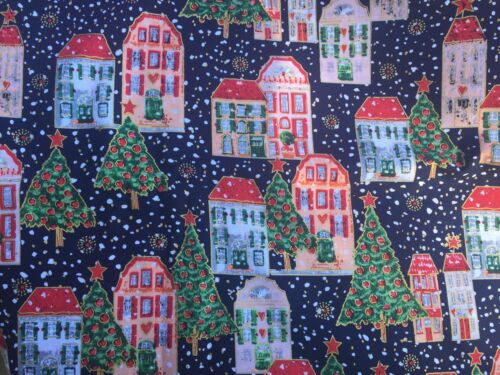 3 YARDS OF SNOWY CHRISTMAS VILLAGE COTTON FABRIC