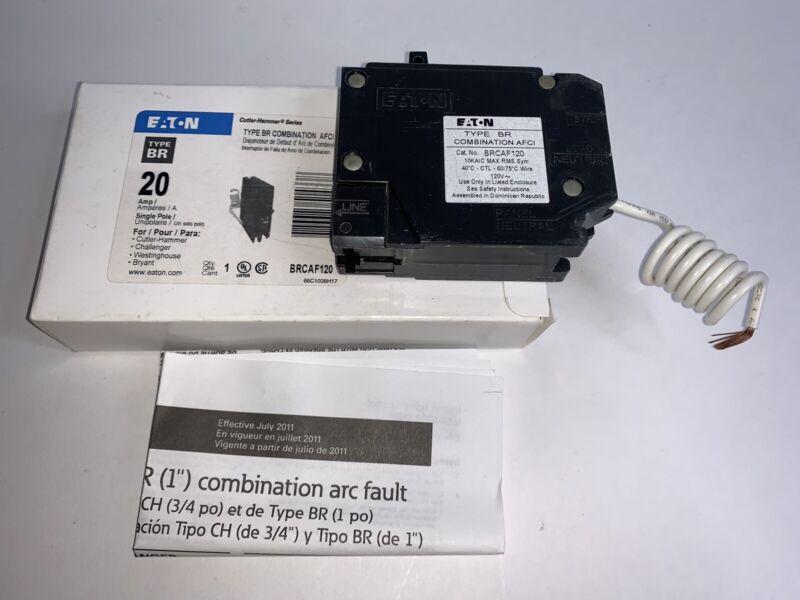 New Eaton BR BRCAF120 1 Pole 20 Amp 120V Combination AFCI Circuit Breaker