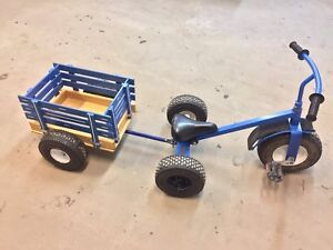 Amish made kids steel tricycle/ trike and trailer