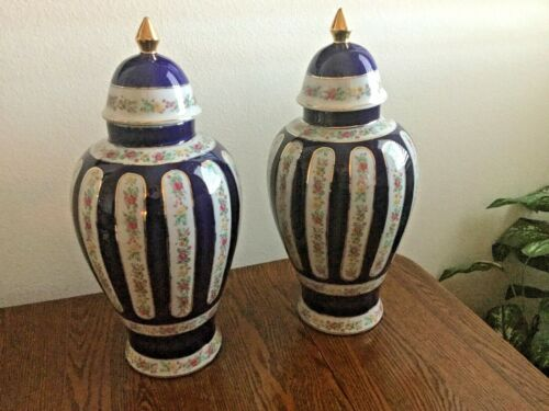 "Pair of Vintage/Antique 16 1/2"" Blue Floral Asian Ginger Jars Pristine Condition"