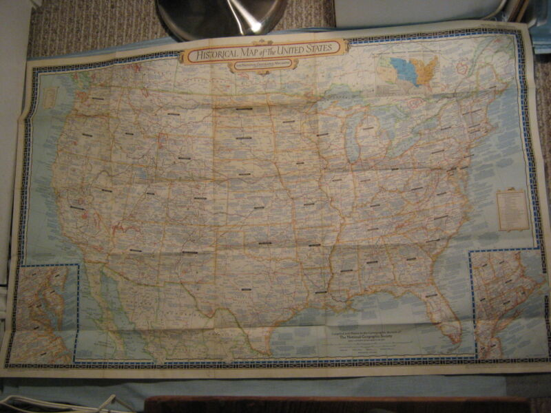VINTAGE LARGE HISTORICAL MAP OF THE UNITED STATES National Geographic June 1953
