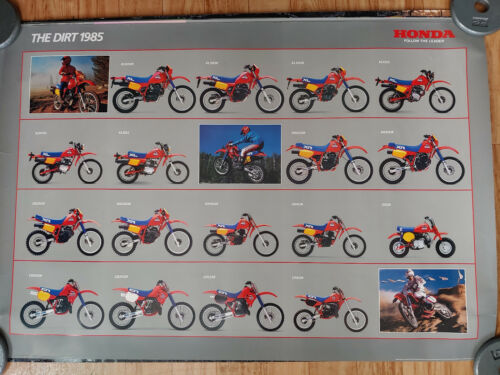 "VTG 1985 HONDA ""THE DIRT"" MOTORCYCLE ADVERTISEMENT POSTER"