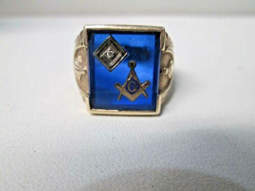 Vintage Masonic 10K Gold Blue Stone  Diamond Men