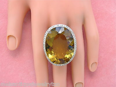 Gigantic Diamond Ring (ESTATE 95 CT! GOLDEN BROWN TOPAZ 1.5ctw DIAMOND GIGANTIC STATEMENT COCKTAIL)