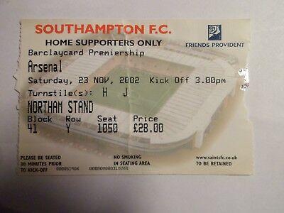 Southampton FC - Arsenal - 23/11/2002 - Ticket football