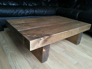 Chunky Rustic Reclaimed Style Coffee Table Handmade Solid Wood Medium Oak Ebay