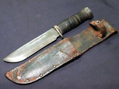 WWII US Fighting Bowie Knife Cattaraugus 225Q USA USMC w Sheath
