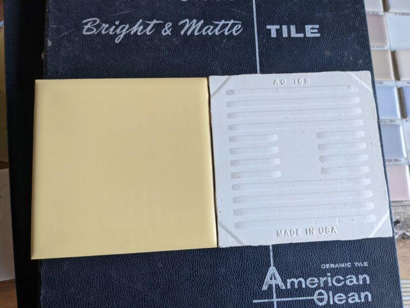 "2 pcs American Olean ceramic tile Daffodil #52 Vintage Ceramic Tile  4-1/4"""