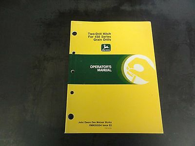John Deere Two-drill Hitch For 450 Series Grain Drills Operators Manual E0