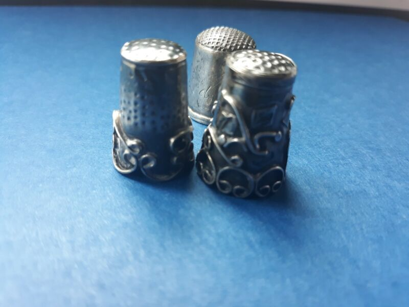 2 Mexican Sterling Thimbles Plus 1850 Silver Thimble