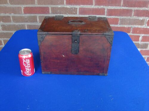 ANTIQUE CHINESE WOOD & IRON BOX
