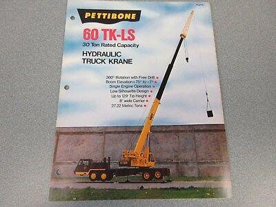 Rare Pettibone 60 Tk-ls Hydraulic Truck Krane Sales Brochure