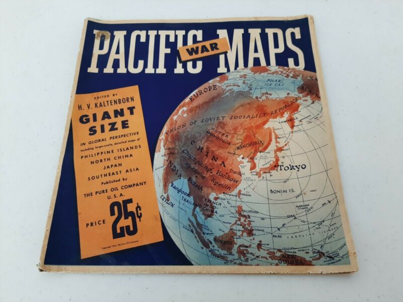 """1944 Pacific War Map Giant Size By Pure Oil Co. 50"""" x 39"""" Shelf 2"""