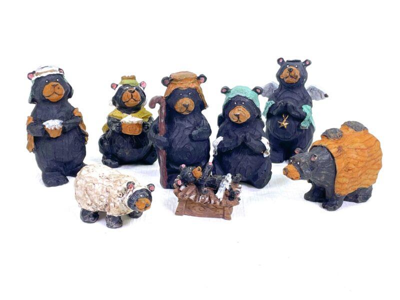 Set -8 Kurt Adler Black Bear Christmas Nativity Resin Figurines Missing Wise Man