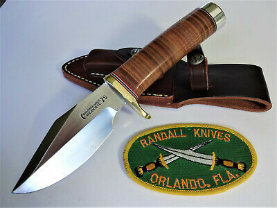"RANDALL KNIFE Model 19-4.5"" SS BUSHMASTER Leather Handle Brass Hilt w/BR Sheath"