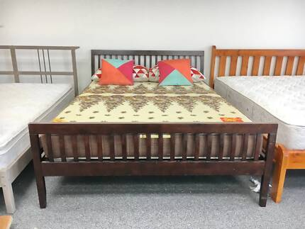 DELIVERY TODAY LUXURY STRONG BROWN WOODEN Queen bed & mattress