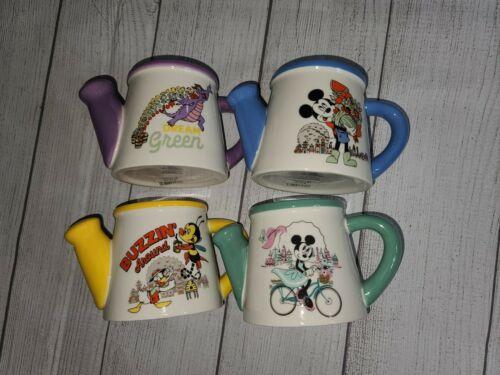 Set of 4 DISNEY Watering Can PASSHOLDER Mugs EPCOT Flower &