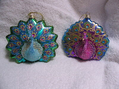 Peacock Pair Tropical Bird Glass Ornaments - Bejeweled Fanned Tail Feathers NEW