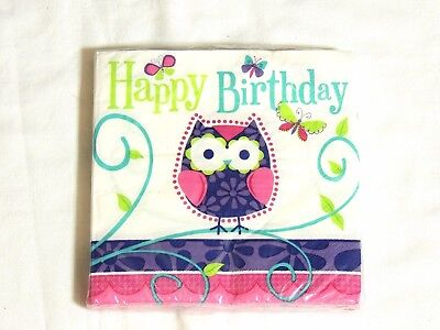 OWL PAL BIRTHDAY -16- LUNCH NAPKINS -  PARTY SUPPLIES ()