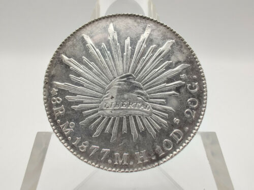 1877 (Second) Republic of Mexico 8 Reales Silver Coin *Cleaned* VERY HIGH GRADE!