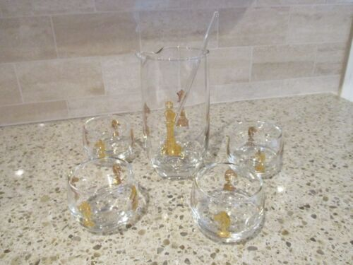 VINTAGE HICKOK CHECKMATE CHESS 5 PIECE GLASS MARTINI SET MID CENTURY GOLD RARE