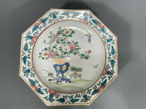 Fine Rare Chinese Famille Rose Octagonal Plate Phoenix Foliates Kangxi Marked