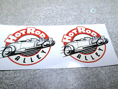 """1-1//2/"""" X 1-1//4/"""" PAIR FORD HOT ROD RAT RACING WHITE BACKED WATER SLIDE TOY DECALS"""