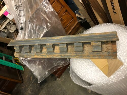 "vintage c1860 Italianate dentil pediment crown molding 60""x 10"" x 7"" crusty grey"